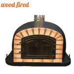 BLACK DELUXE EXTRA WOOD FIRED PIZZA OVEN 90CM or 100CM, ORANGE ARCH, BROWN CAST IRON DOOR